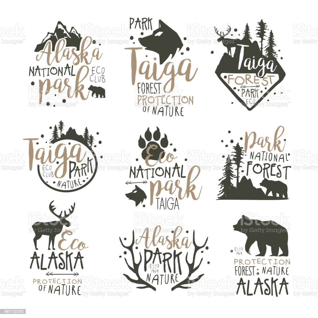 Alaska national park labels set. Forest protection hand drawn vector Illustrations vector art illustration