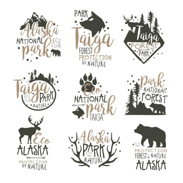 Alaska national park labels set. Forest protection hand drawn vector Illustrations vector art illustration