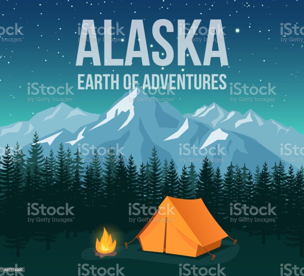 Alaska national park wildlife travel vintage poster vector art illustration