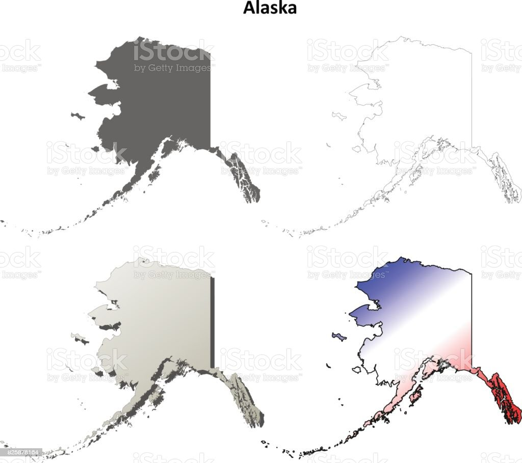 Alaska Outline Map Set Stock Illustration - Download Image ...