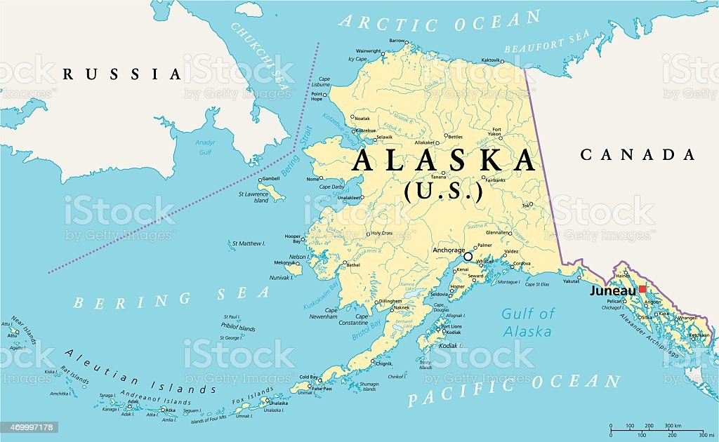Alaska Political Map vector art illustration