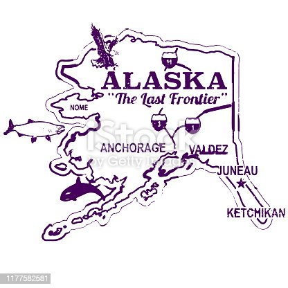 Alaska Retro Travel Stamp