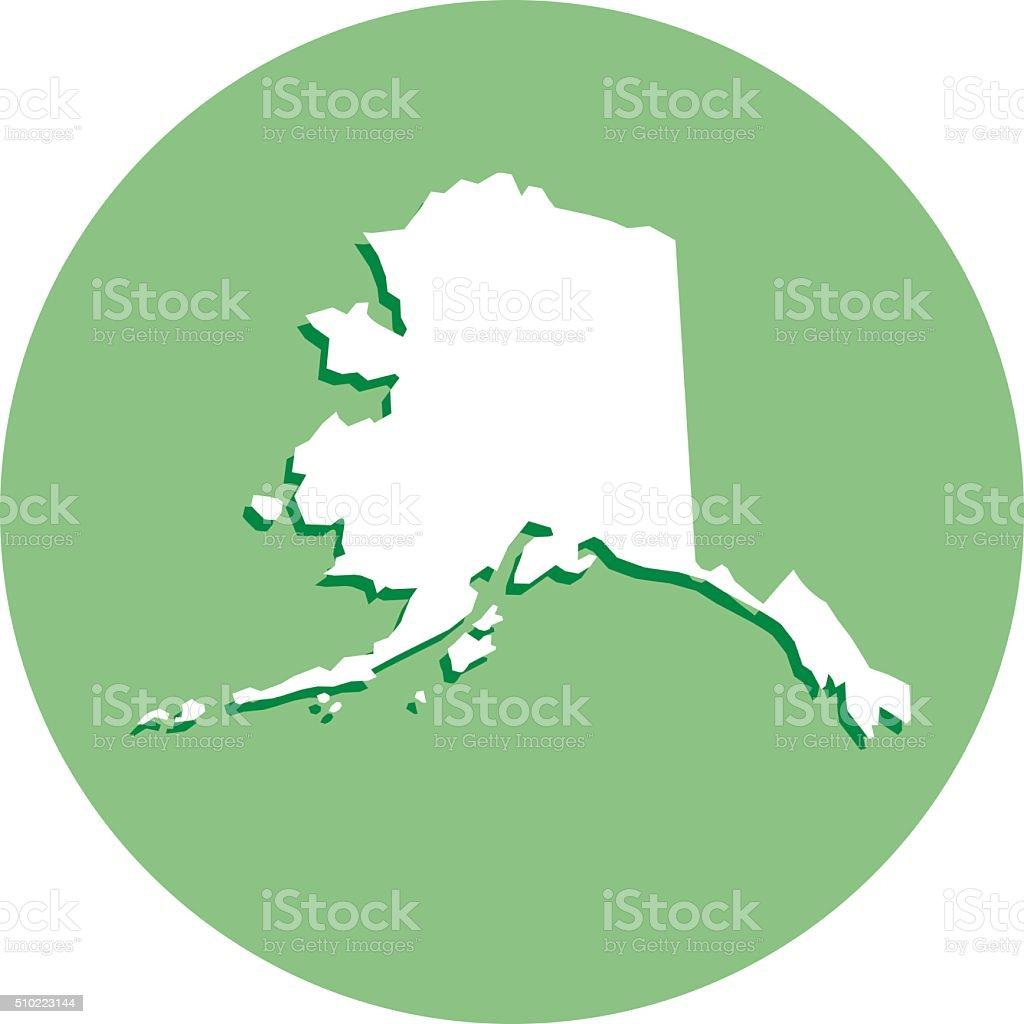 Alaska Round Map Icon vector art illustration