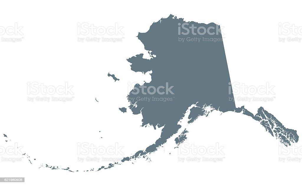 Alaska silhouette. U.S. state vector art illustration