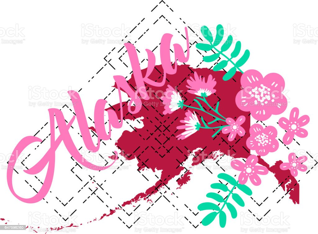 Flower Concept Map.Alaska State Map Creative Vector Typography Lettering Composition