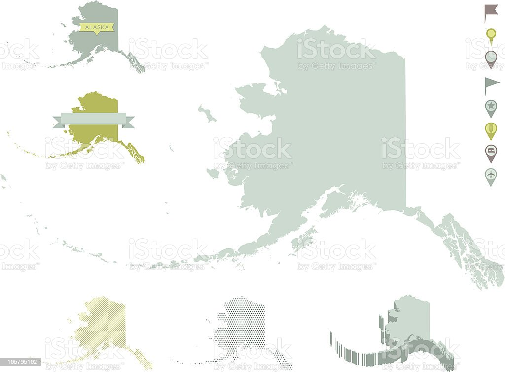 Alaska State Maps royalty-free stock vector art