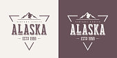 Alaska state textured vintage vector t-shirt and apparel design, typography, print, logo, poster. Global swatches.