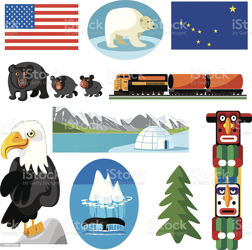 Alaska Symbols Stock Vector Art More Images Of Alaska Us State