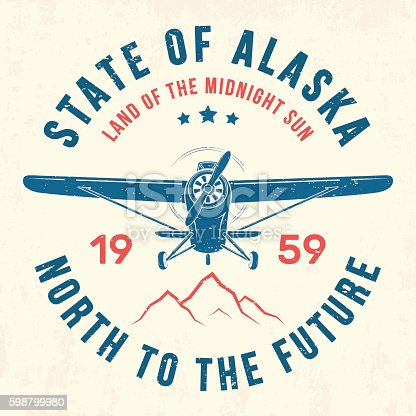 Alaska t-shirt design, print, typography, label with old airplane. Vector illustration.
