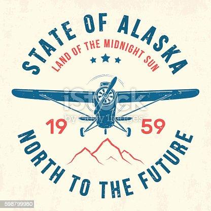 Alaska t-shirt design, print, typography, label with old airplane. Vector illustration.