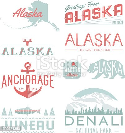 A set of vintage-style icons and typography representing the state of Alaska, including Anchorage, Juneau and Denali National Park. Each items is on a separate layer. Includes a layered Photoshop document. Ideal for both print and web elements.