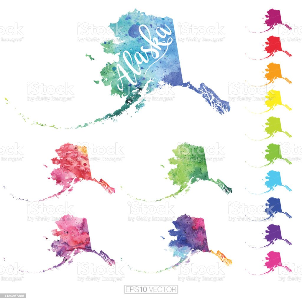 Alaska Us State Multicolored Watercolor Vector Map Set Stock Vector ...
