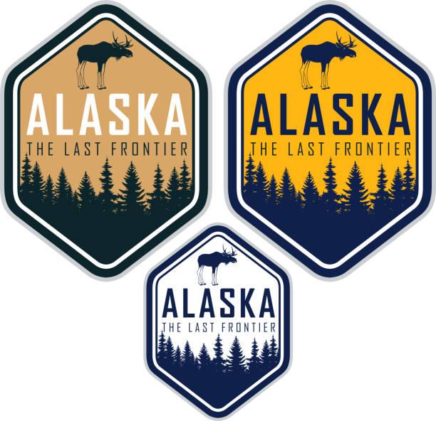 alaska-vektor-etiketten mit wald wald und elch - nationalpark stock-grafiken, -clipart, -cartoons und -symbole