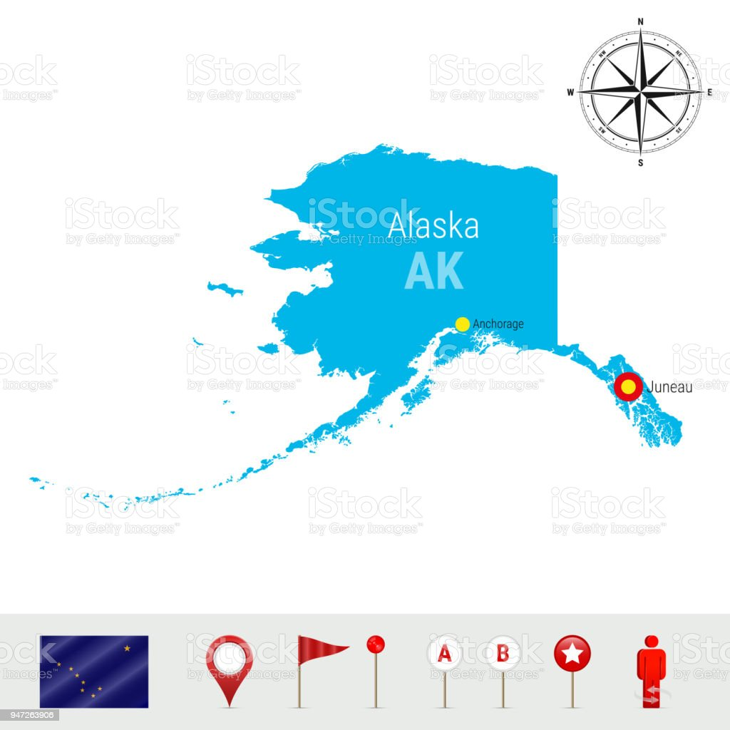 Alaska Vector Map Isolated on White Background. High Detailed Silhouette of Alaska State. Official Flag of Alaska vector art illustration