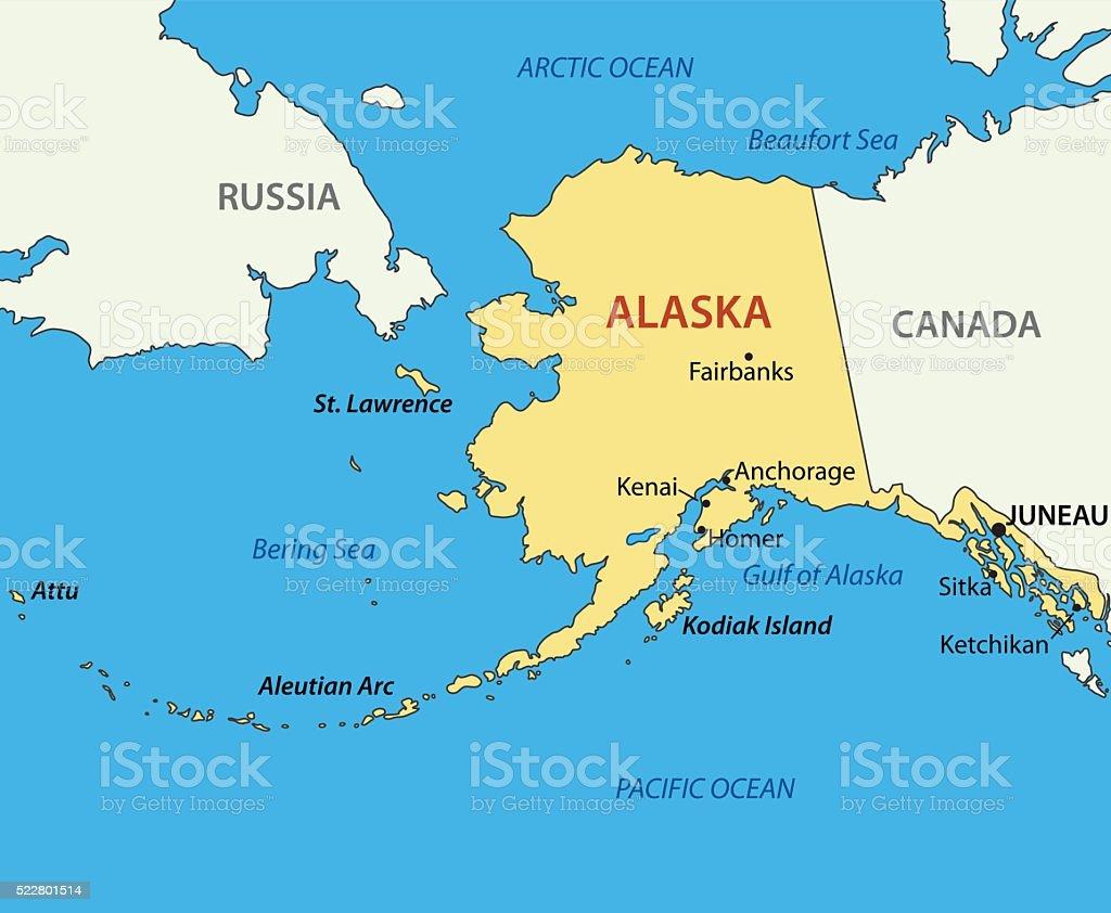 Alaska - vector map vector art illustration