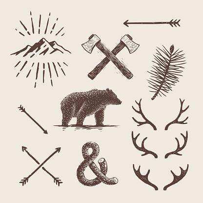 Alaska vintage set. Bear, axes, mountains, deer antlers