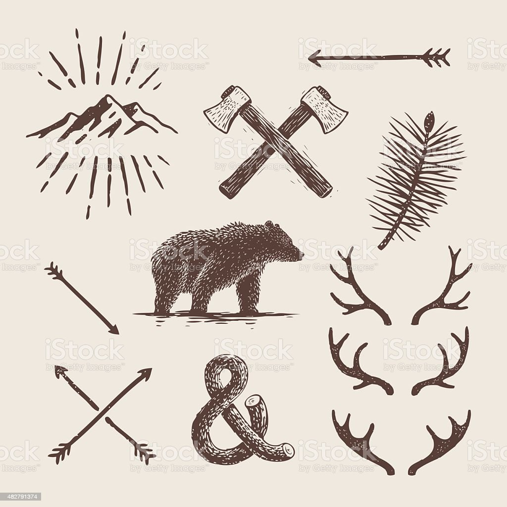 Alaska vintage set. Bear, axes, mountains, deer antlers vektorkonstillustration