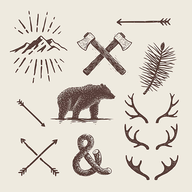 alaska vintage set. bear, axes, mountains, deer antlers - deer antlers stock illustrations, clip art, cartoons, & icons