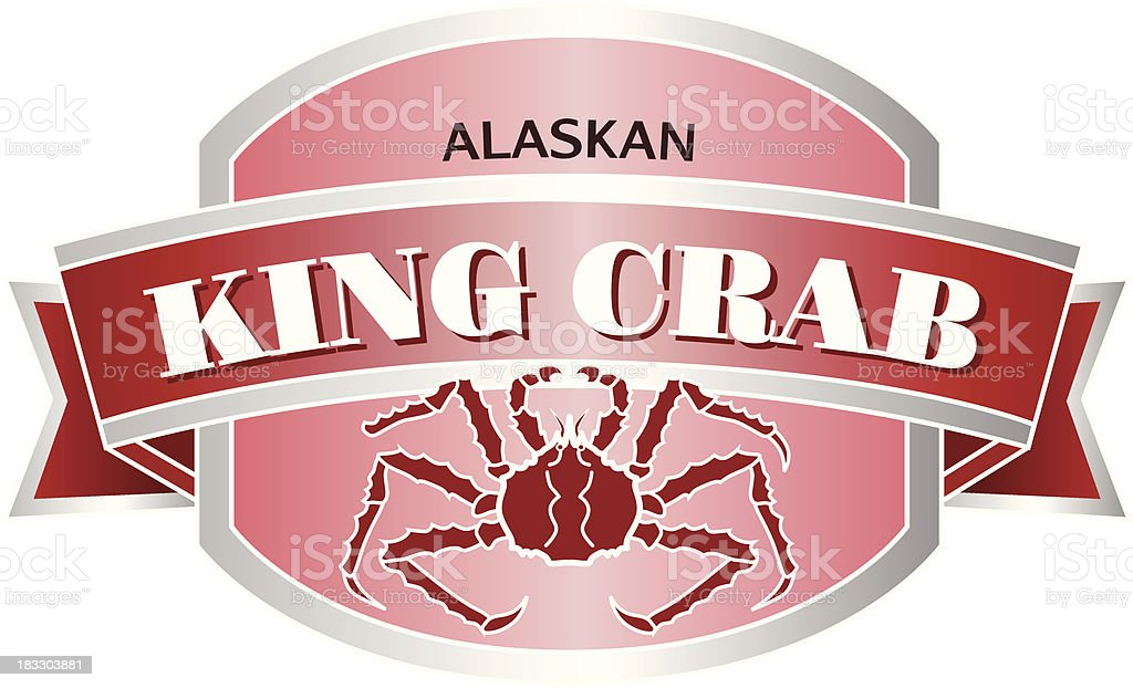 Alaskan King Crab label or sticker royalty-free stock vector art
