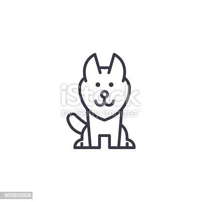 alaskan malamute vector line icon, sign, illustration on white background, editable strokes