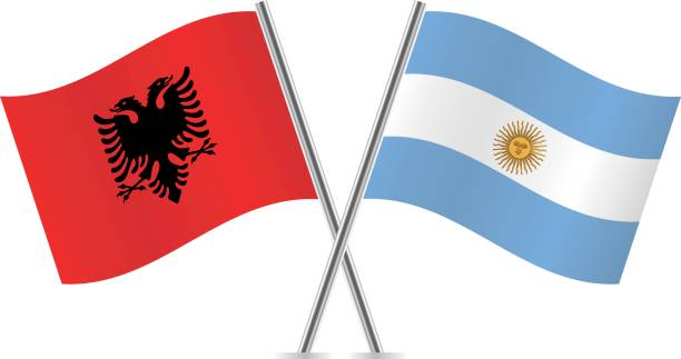 albania and argentina flags. vector illustration. - argentina flag stock illustrations, clip art, cartoons, & icons