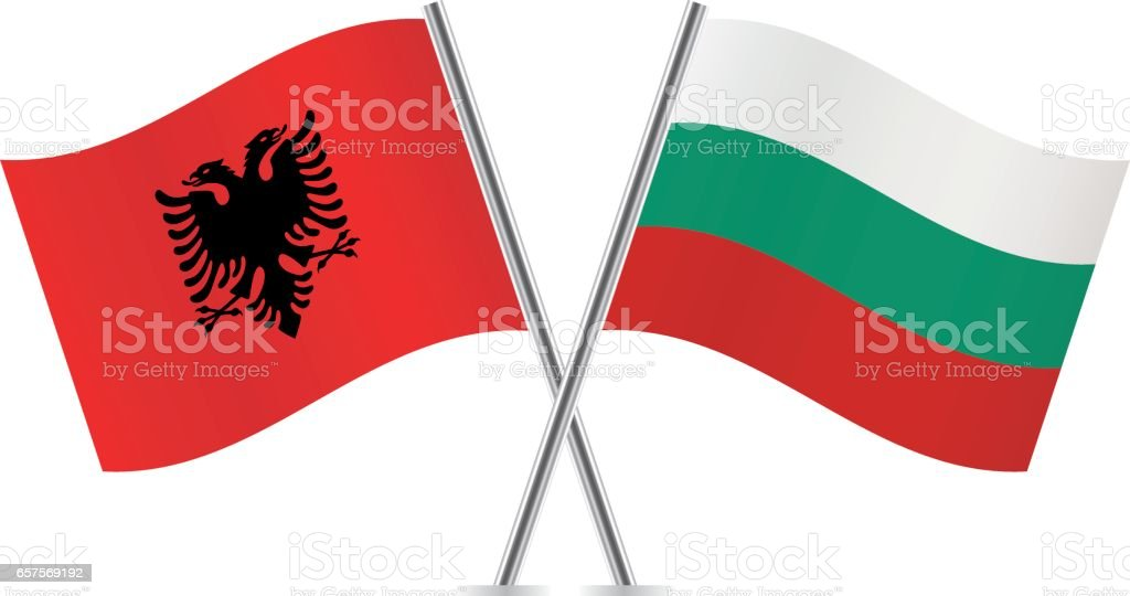 Albania and Bulgaria flags. Vector illustration. vector art illustration
