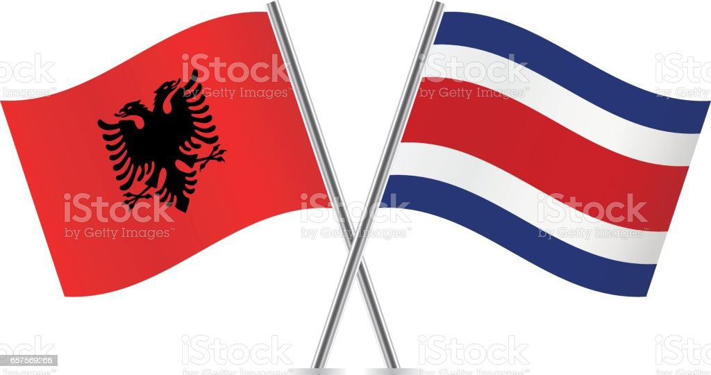 Albania and Costa Rica flags. Vector illustration. vector art illustration