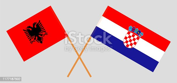 Albania and Croatia. Crossed Albanian and Croatian flags. Official colors. Correct proportion. Vector illustration