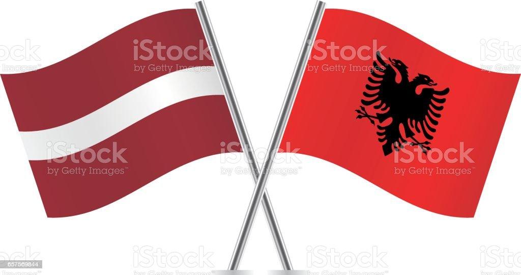 Bandera De Albania. Tirana Albania Vista Nocturna De La Plaza ...