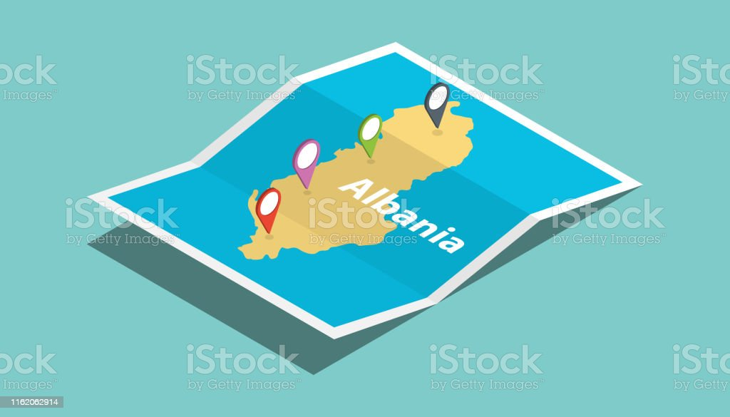 albania explore maps with isometric style and pin location tag on top...