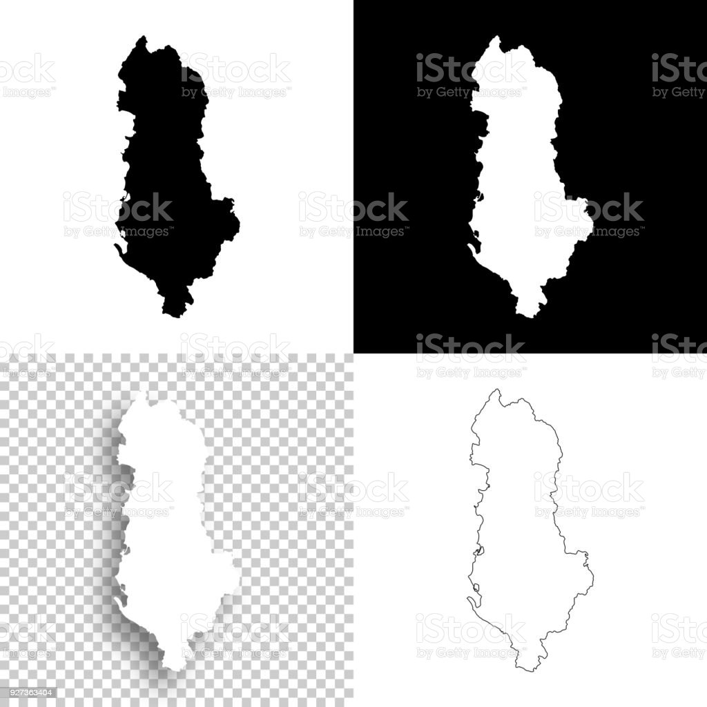 Albania maps for design - Blank, white and black backgrounds Map of Albania for your own design. With space for your text and your background. Four maps included in the bundle: - One black map on a white background. - One blank map on a black background. - One white map with shadow on a blank background (for easy change background or texture). - One blank map with only a thin black outline (in a line art style). The layers are named to facilitate your customization. Vector Illustration (EPS10, well layered and grouped). Easy to edit, manipulate, resize or colorize. Please do not hesitate to contact me if you have any questions, or need to customise the illustration. http://www.istockphoto.com/portfolio/bgblue Abstract stock vector