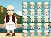 Albanian Folk Boy Cartoon Emotion faces Vector Illustration