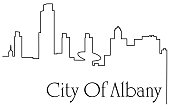 One line drawing abstract background with American city
