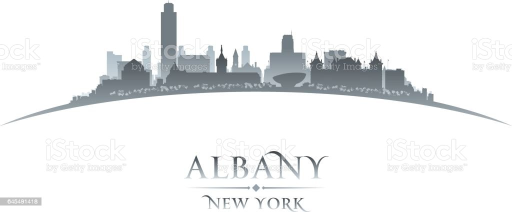 Albany New York city skyline silhouette vector art illustration