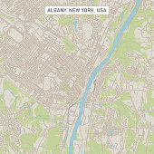 Vector Illustration of a City Street Map of Albany, New York, USA. Scale 1:60,000. All source data is in the public domain. U.S. Geological Survey, US Topo Used Layers: USGS The National Map: National Hydrography Dataset (NHD) USGS The National Map: National Transportation Dataset (NTD)