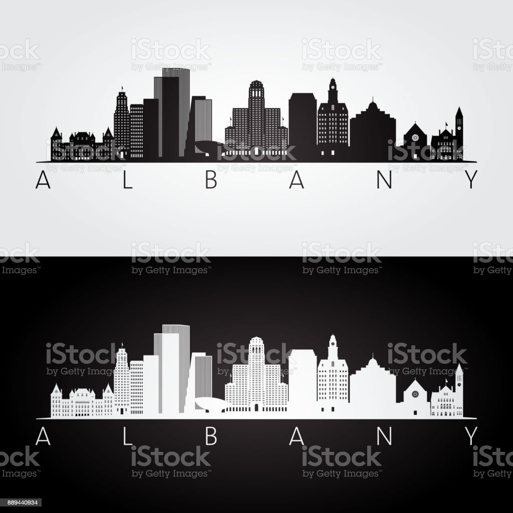 Albany usa skyline and landmarks silhouette, black and white design, vector illustration. vector art illustration