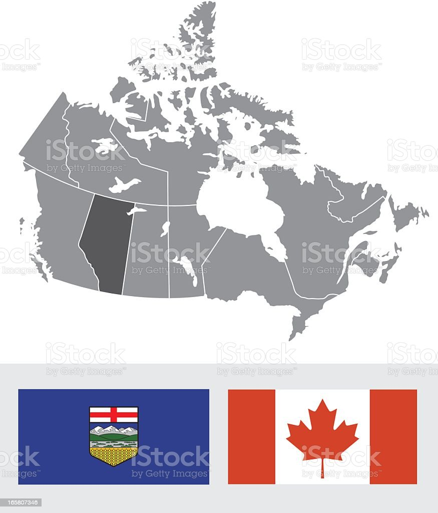 Alberta, Canada Map and Flag royalty-free stock vector art