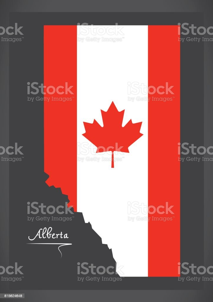 Canada Map Flag.Alberta Canada Map With Canadian National Flag Illustration Stock