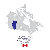 istock Alberta in Canada Vector Map Illustration 1214707451
