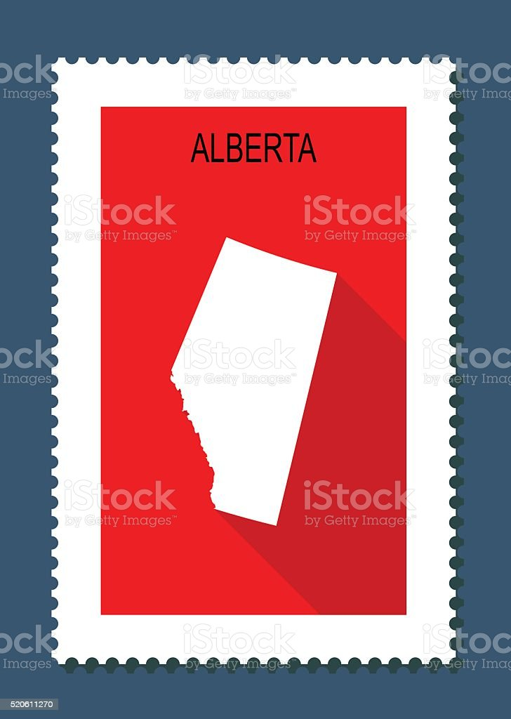 Alberta Map on Red Background, Long Shadow, Flat Design,stamp vector art illustration
