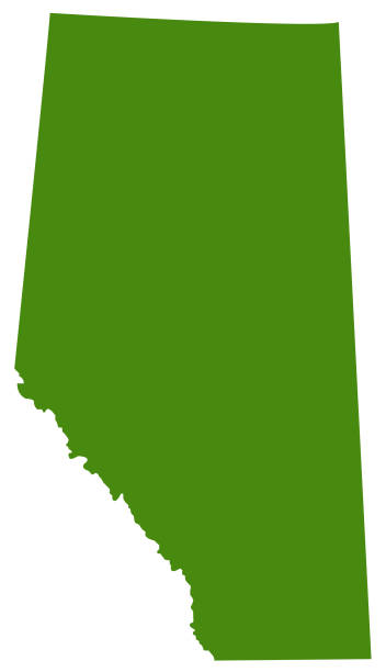 Alberta map vector art illustration