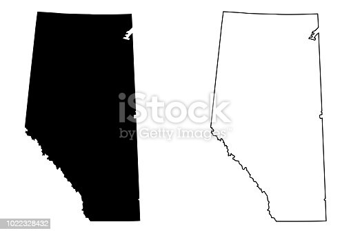 Alberta (provinces and territories of Canada) map vector illustration, scribble sketch Alberta map