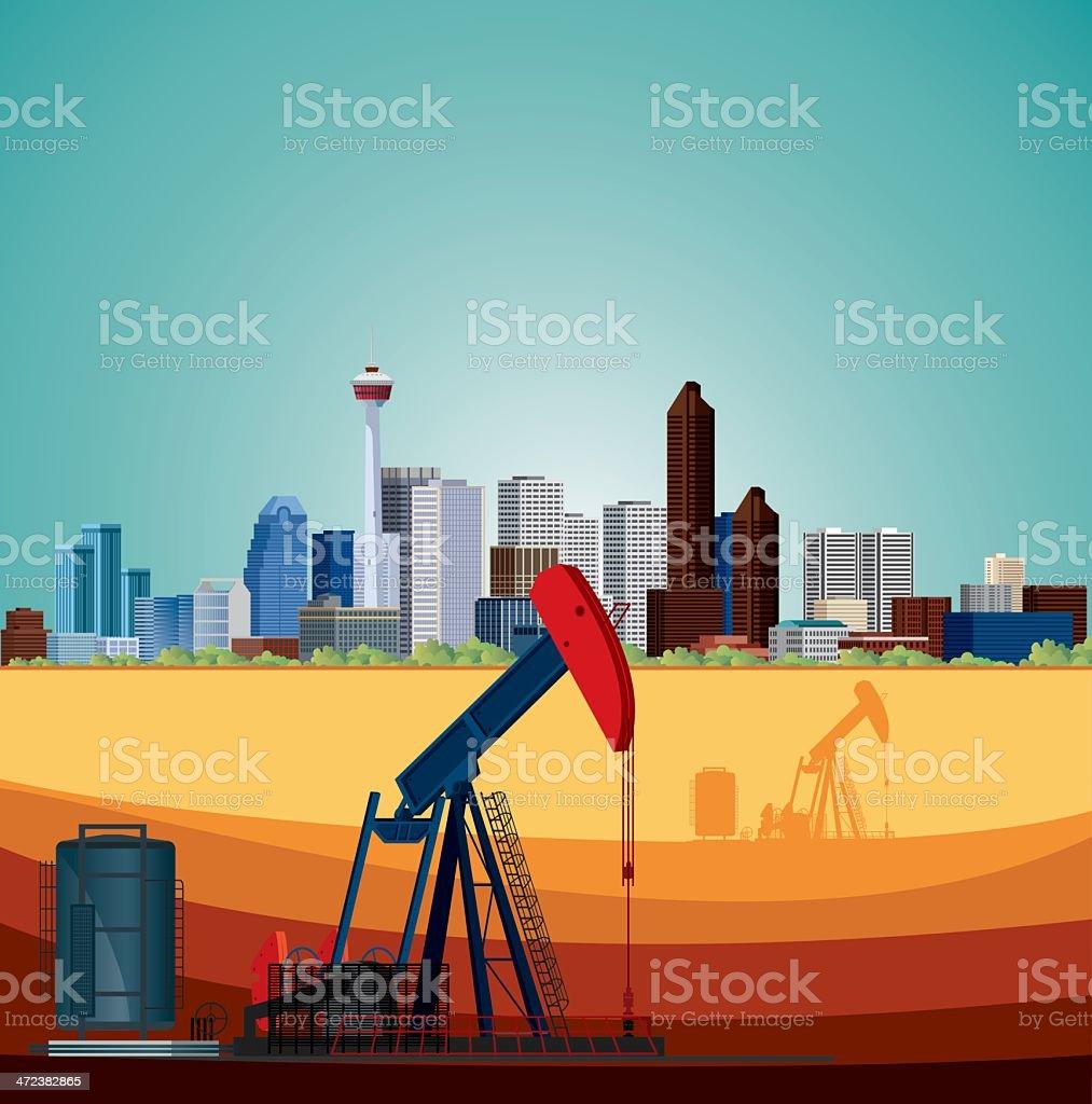 Alberta, Oil Industry vector art illustration