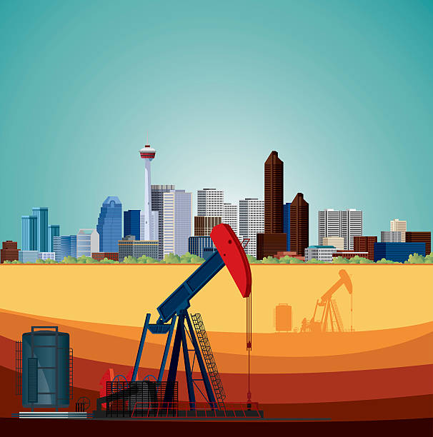 Alberta, Oil Industry vector art illustration
