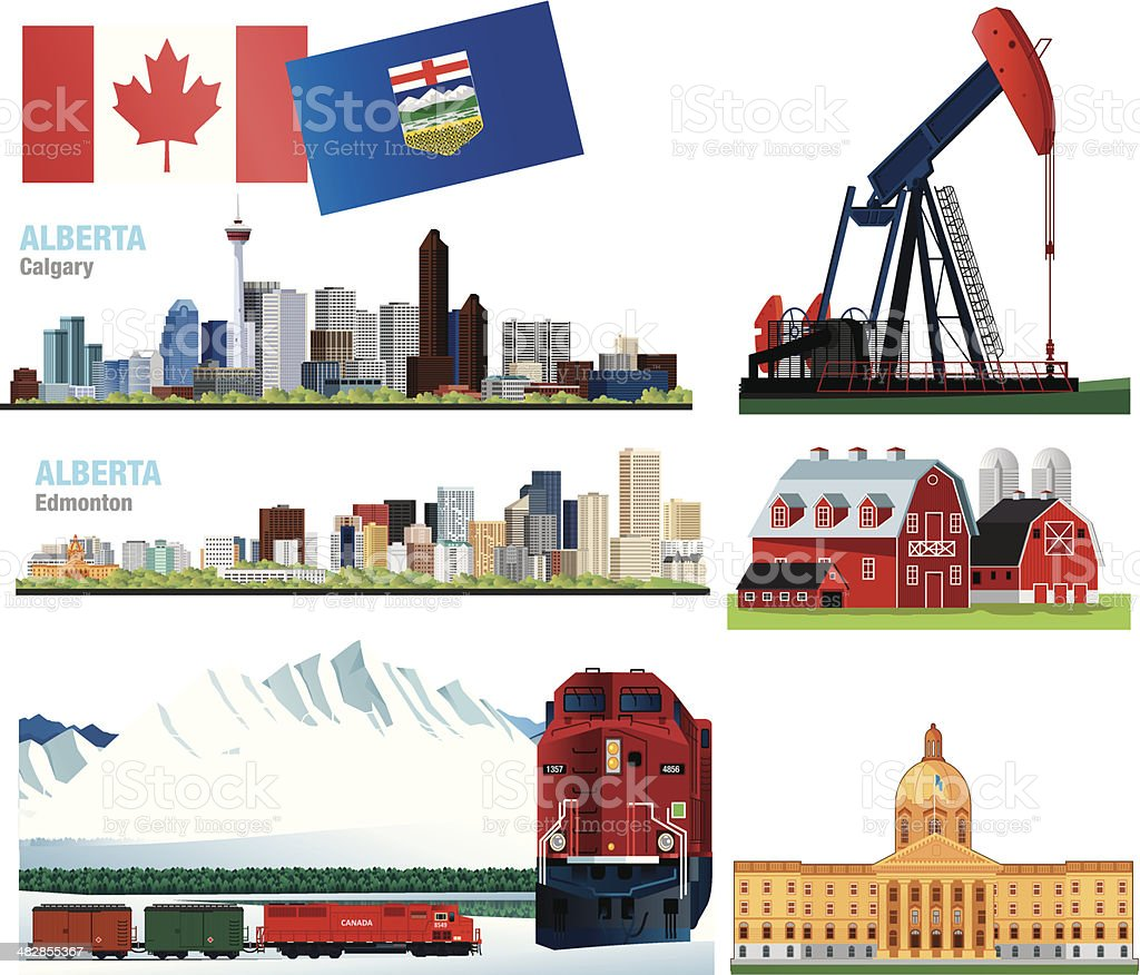 Alberta Symbols Stock Vector Art More Images Of Alberta 482855367