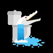 Albino alligator in toilet. Crocodile White Monster in sewer. Predator animal. City legend. Vector illustration