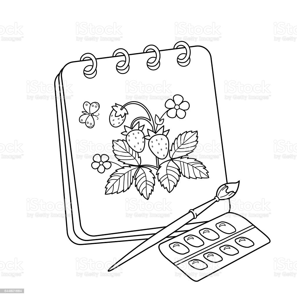 Album With Brush And Paints Drawing Of Strawberries Stock Vector Art ...