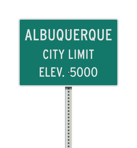 Albuquerque City Limit road sign vector art illustration