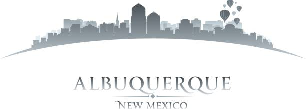Albuquerque New Mexico city skyline silhouette vector art illustration