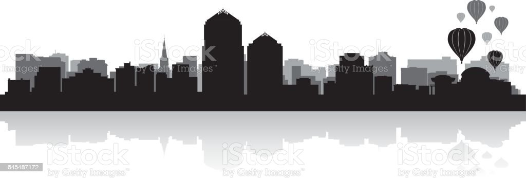 Albuquerque New Mexico city skyline silhouette vector art illustration